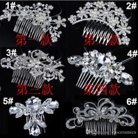 Wholesale Fine Silk Flowers - Bridal Wedding Tiaras Stunning Fine Comb Bridal Jewelry Accessories Crystal Pearl Hair Brush utterfly hairpin for bride