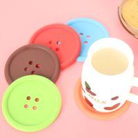 Wholesale random buttons - 200pcs lot Buttons Shape Table Mat Silicone Round Coasters Cute Button Cup Mat Random Color Diameter 8.5 cm Candy Color Placemat