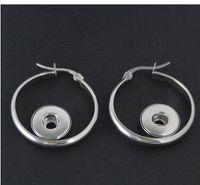 Wholesale Diy Earring Hoops - new 12mm stainless steel hoop earring noosa chunks snap button charm earrings giner button earring fit 12mm diy handmade jwlwery accessories