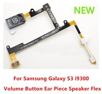 For Samsung speaker cable flat - 100 New Original Earpiece Ear Speaker Flex Cable Ribbon Volume Button Keypad Flat Flex Cable For Samsung Galaxy S3 i9300 T999 i747