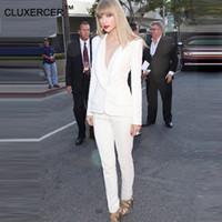 ingrosso vestito elegante bianco delle donne-All'ingrosso-Pant Abiti da donna Business Formal Uniform Style Nuovo 2016 Bianco Elegante donna Suit Blazer con pantaloni da lavoro Wear per donna