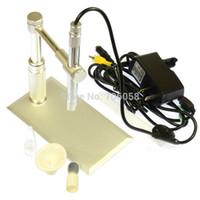Wholesale Endoscope Av - Wholesale-200X 2.0MP HD Digital AV TV Video Microscope Endoscope Camera Set with 8 LED light illuminator + Aluminium Alloy Stand Holder
