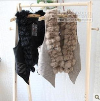 Wholesale Vest Fur Real - Luxurious winter women lady real fur rabbit fur vest with Hot drilling for party