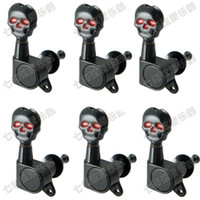 Wholesale black electric guitar tuning pegs resale online - 6R black guitar accessories for Electric Guitar strings Skull button Tuning Pegs Keys tuner Machine Heads Guitar Parts