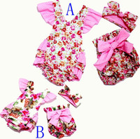 Wholesale Girls Vintage Romper - retail 2016 New style baby toddler summer boutiques baby girls vintage floral ruffle neck romper cloth with bow knot shorts headband