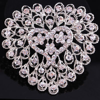 Wholesale Bridal White Flower Bouquet Holding - Hot Sell Crystal Heart Shape Wedding Bouquet DIY Flower Jewelry Brooch Bridal Bridesmaid Holding Flowers Pin Brooches