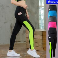 Wholesale Long Skinny Yoga Pants - Sexy Womens Gym Long Yoga Pants with Pocket Sports Trousers Women Compression Running Pants Skinny Fitness Tight Leggings