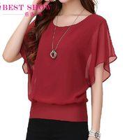 Wholesale Red Chiffon Shirt - New Womens Tops Fashion 2016 Women Summer Chiffon Blouse Plus Size Ruffle Batwing Short Sleeve Casual Shirt Black White Red Blue