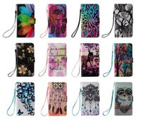 Wholesale Iphone Owl Covers - Mandala Flower Wallet Leather Case For Iphone 7 I7 6S 6 Plus SE 5 5S Ipod Touch 5th 6th Forest Tree Owl Dreamcatcher Pouch Stand Card Cover