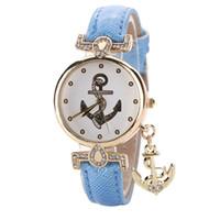 часы-анкерные оптовых-Новая мода Золотой Якорь Кварцевые часы Женщины Кожа PU повседневные наручные часы Lady горный хрусталь браслет