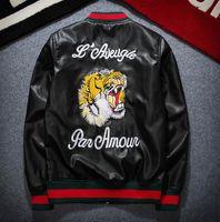 Wholesale Pilots Jackets - leather jacket men jaqueta de couro masculino chaqueta campera tiger embroidery bomber jacket baseball motorcycle pilot jacket