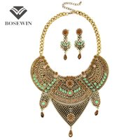 Wholesale Vintage Bohemia Jewelry - Women Vintage Jewelry Sets Bohemia Flower Design Rhinestones Collar Big Chokers With Earring Statement Jewelry Set fashion CE3813