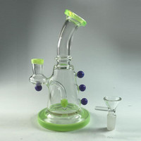 Wholesale coned stock - Free Shipping 2017 New Special Fluorescent Green Glass Bong with Cone Piece Inline Percolato Smoking Bubbler Recycle Oil Rigs In Stock Bongs