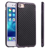 Wholesale Iphone Chrome Carbon Fiber Case - Carbon Fiber Pattern Chrome Plated Metallic Electroplating Frame Back Cover Case for iPhone 7 Plus 6 6S Samsung S7 edge S6 Note 5 4 100pcs