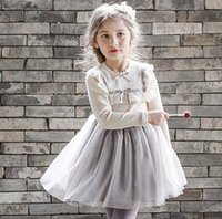 Wholesale Kids Clothes For Grils - Children party dress fashion lace falbala splicing tulle tutu dress for kids knee length princess dress autumn new big grils clothes T0230