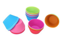 Wholesale Mold Cup - Hot sale! Round shape Silicone Muffin Cupcake Mould Case Bakeware Maker Mold Tray Baking Cup Liner Baking Molds