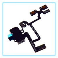 Wholesale Iphone 4s Cable Black - Top Quality Audio Jack Volume Mute Silent Switch Button Flex Cable for iPhone 4 4S Black White Free shipping