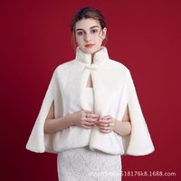 ingrosso pelo senza maniche bolero-Autunno e inverno Faux Fur Coat Bridal Wraps senza maniche collo alto caldo scialli matrimonio giacche Bolero per abiti da sposa impacchi nuziali
