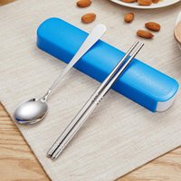 Wholesale high quality stainless steel chopsticks for sale - Group buy ORZ Tableware Set With Box Portable Stainless Steel Spoon And Chopstick Travel Set Camping Boxes High Quality Dinnerware Set