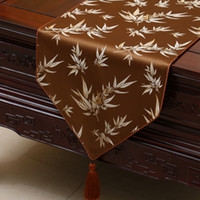 Wholesale Bamboo End Table - Short Length Bamboo Jacquard Table Runner Luxury High End Chinese style Silk Brocade Tea Table Cloth Dining Room Decor Table Mats 150x33cm