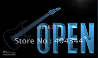 Wholesale N Shop - LK854-TM OPEN Guitars Shop Rock n Roll Neon Light Sign. Advertising. led panel, Free Shipping, Wholesale