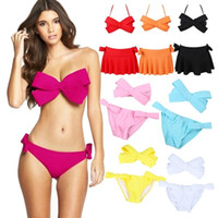 Wholesale Women Bikini Skirts Set - PrettyBaby 10 colors Big Bow Bikini with skirt 2016 New Bowknot Swimsuit Women beach Dress Swimwear Bathing Monokini Biquini 3pcs set