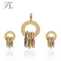 Wholesale Earring Three Color - TL New Hollow Round Gold Jewelry Sets Three Color Beautiful Party Choker Pendant Stud Earrings Set Stainless Steel Jewelry Sets