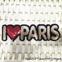 Wholesale Dress For Celebs - 5pcs I Love Paris Sequins Patch Letters Embroidery Sew On Patches For Clothing Fashion Celeb Dress Patchwork Hair Appliques Motif Badge