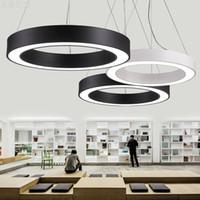 lampes rondes achat en gros de-L'éclairage pendant mené circulaire simple de lampe de lumières de bureau simplifient les lumières de suspension rondes creuses menées allumant le diamètre 40cm / 60cm / 80cm
