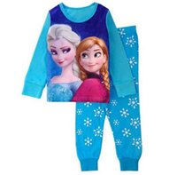 Wholesale Cute Christmas Pajamas For Girls - Fashion cute cartoon kids girls 2 pcs   set tops + sleeve cotton pants long pajamas kids pajamas pajamas for children 2-7 years