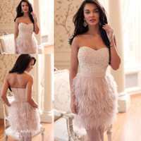 Wholesale Ostrich Feather Dressing Gown - Ostrich Feather Prom Dress Beautiful Pink Sweetheart Beaded Women Wear Special Occasion Dress Evening Party Gown