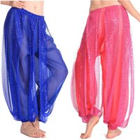 Wholesale Belly Dance Ruffled Skirts - Egypt Bollywood 6 Colors Shining Belly Dancing Skirts Swing Skirt Belly Dance Costumes Professional India Bellydance Pant