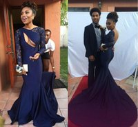 Wholesale Naked Dresses - 2016 Sexy Naked Front Open Back Navy Black Girls Mermaid Prom Dresses with Bateau Neck Sheer Lace Long Sleeves Chapel Train Pageant Gowns