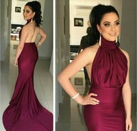 Wholesale simple sheath prom dresses for sale - Group buy 2016 Simple Cheap Elegent Evening Dresses Wear High Neck Mermaid Backless Long Grape Burgundy Satin Formal Plus Size Party Gowns Prom Dress