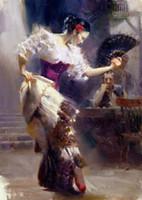 ölgemälde tanzen mädchen großhandel-Echtes reines handgemaltes Impressionalkunst-Ölgemälde auf Segeltuch für Hauptdekor, schönes Mädchen-Tanzen