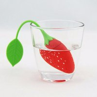 Wholesale Reuseable Foof safe Silicone Red Strawberry Shape Tea Leaf Bag Holder Tea Coffee Herb Punch Filter Tea Infuser
