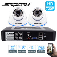 Wholesale Ir Night Vision Dome Camera - Saqicam 4CH 1080N AHDM HD DVR CCTV Home Security System With 2PCS 720P Indoor Outdoor Color Dome Metal Cameras IR night vision