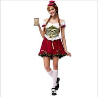 Wholesale Sexy Bar Uniforms - 2017 Beer Festival Costume 10Pcs Lot Sexy Cosplay Halloween Bar Girl Uniform Temptation Traditional Bavarian National Clothing Hot Selling