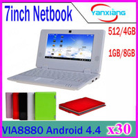 30PCS Großhandelsvorlage 7inch Mini Netbook WIFI android 4.4 Laptop 512mb 4GB Blitz VIA8880 1.5Ghz Notizbuch ZY-BJ-1
