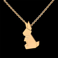 Wholesale Necklaces Bunny Rabbit - Wholesale 10Pcs lot 2017 Stainless Steel Jewelry Pendant Good Luck Origami Rabbit Choker Necklaces Charm Bunny Silver Necklaces For Women