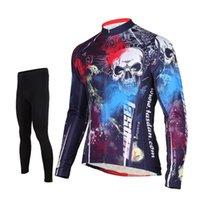 теплый длинный рукав велосипедный трикотаж оптовых-Tasdan велосипед одежда открытый восхождение Велоспорт с длинным рукавом теплый Велоспорт Джерси костюм мягкие брюки для мужчин