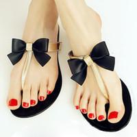 Wholesale Womens Thongs Medium - Wholesale-SAF-Womens Ladies Toe Bow Diamante Jelly Summer Flat Flip Flop Thong Sandals