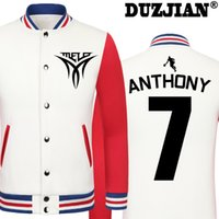 Wholesale Cheap Casual Jackets Men - Wholesale- DUZJIAN Spring new Knicks Carmelo Anthony casual jacket cheap men winter jackets male coat maillot paris 2016 jacket hip hop