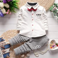 Wholesale Gentleman Leisure - Boys Set T-Shirt And Boys Leisure Trousers Baby Kids Gentleman Two Pieces Suit Children's Clothes Tops And Pants Suits