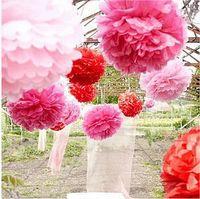Wholesale Hanging Paper Flower - Hanging Ball Flower Decorative Tissue Paper Pom Poms Flower Balls Pompom Artificial Paper Flowers DIY Wedding Party Home Decor