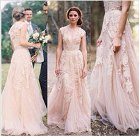 Wholesale Sexy Size 18 Dresses - Hot Sale Pink Lace Cap Sleeve V Neck Sexy A-Line White Ivory Wedding Dress Bridal Gown Custom Size 2 4 6 8 10 12 14 16 18 20 22 24 26 28