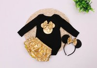 Wholesale Wholesale Minnie - 2016 New Minnie Infant Clothing Set Newborn Baby Bodysuits+Gold Shorts+Hair hoop Christmas Wear Toddlers Clothing 7670