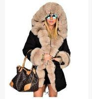 Wholesale Ladies Mink Jackets - New Winter warm Coats Women Jackets faux fur mink fur coat Hooded Fur Coat Outwear Thick Cotton Padded Lining Ladies Down Parkas