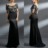 Wholesale Simple Chiffon Evening Short Dress - Elegant Mothers Dresses Evening Gowns 2017 Black Lace Top Silk Satin Sheath Mother Of The Bride Dresses Floor Length Wedding Guest Gowns
