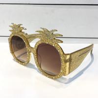 ананас очки оптовых-0150 Солнцезащитные очки Золотая оправа из ацетата с ананасовой оправой Дизайнерские солнцезащитные очки с защитой от ультрафиолетовых лучей Высочайшее качество Мода Лето Женщины Стиль